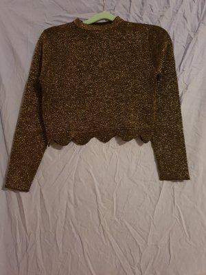 Zara Knit T-shirt court noir-doré