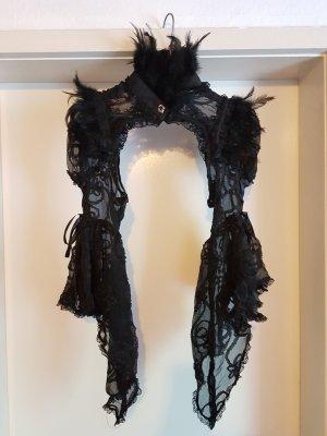 schwarzes Gothic Bolero aus Spitze mit Federkragen und weiten Ärmeln