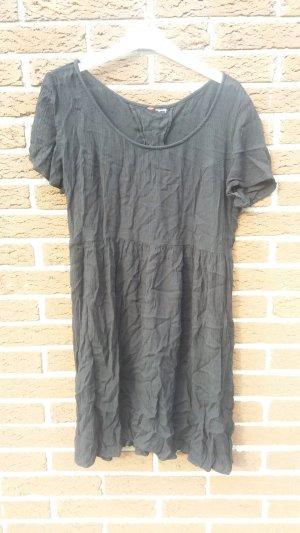 H&M Vestido de manga corta negro Viscosa