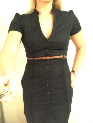Schwarzes Hemdkleid Minikleid mit Gürtel von Mango Gr. S