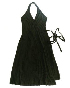 schwarzes jersey wickelkleid