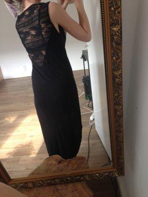 Schwarzes Jerseykleid mit Lace- Einsatz im Rücken