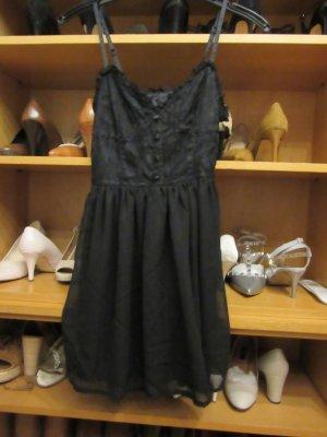 schwarzes Kleid aus Spitze und Chiffon Gr. XS