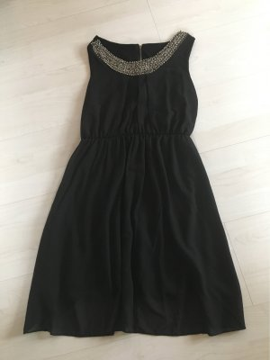 Flounce Dress black-silver-colored