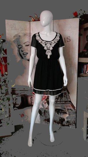 Amisu Vestido de noche negro-blanco