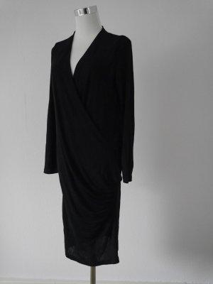 Mango Basics Vestido cruzado negro Sintético