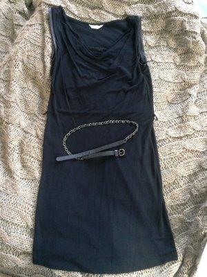 schwarzes Kleid Gr. 38 mit Gürtel und Lederimitat