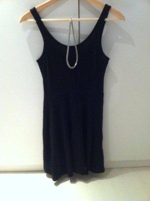 Schwarzes Kleid H&M Stoff uni Basic Longtop gerafft XS