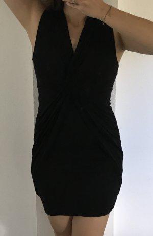 Schwarzes Kleid in Knoten-/Wickeloptik Gr. S