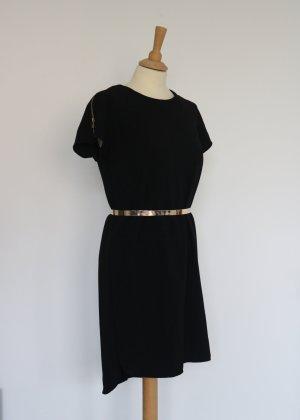 Schwarzes Kleid mit goldenen Reißverschlüssen Primark Atmosphere 40