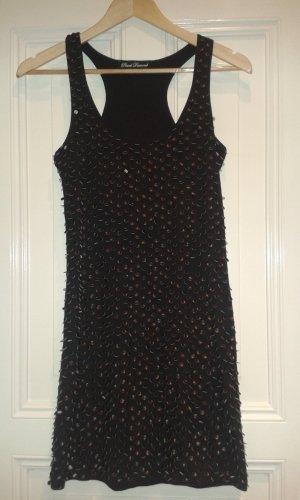 schwarzes Kleid mit Leder-Pailletten von Phard Diamond