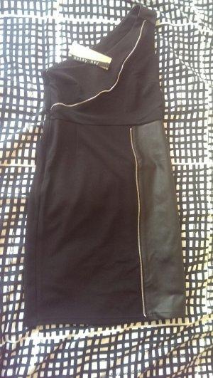 schwarzes Kleid mit Ledereinsätzen von Noisy May NEU MIT ETIKETT