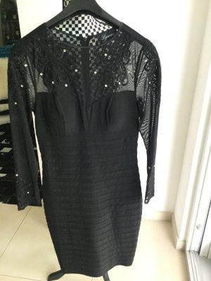 Schwarzes Kleid mit Mesh und Strass Frank Lyman Gr. 36 oder S langarm