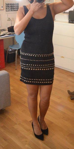 Schwarzes Kleid mit Metallapplikationen ASOS Gr. 36