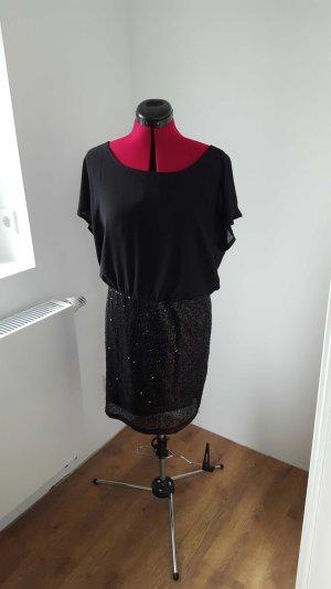 schwarzes Kleid mit Paillettenrock Gr  L