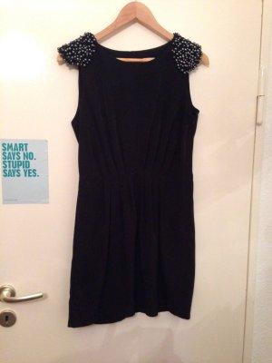 schwarzes Kleid mit Perlen, schwarz, Gr. 38 (M), H&M Trend