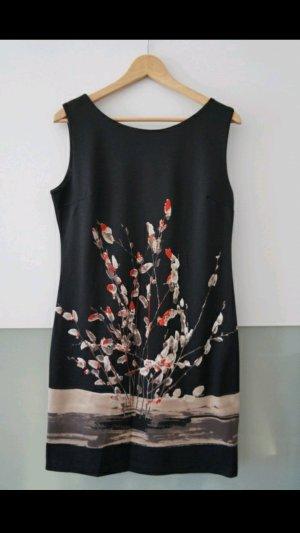 Schwarzes Kleid mit Print aus Italien Gr 38 / 40