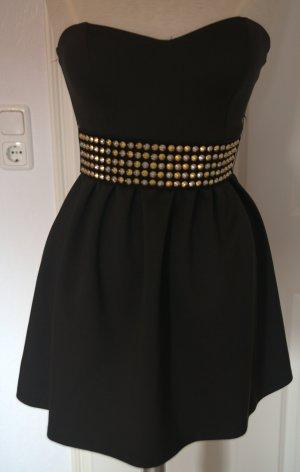 schwarzes Kleid mit Rocker Nietengürtel gr.36