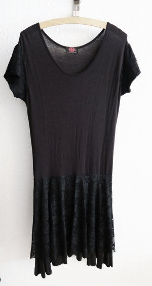 schwarzes Kleid mit Spitze  42 44 XL