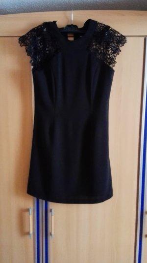 Schwarzes Kleid mit Spitze A-Linie Cocktail Kleid Größe 36 S