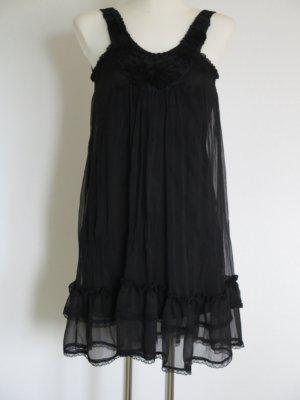 schwarzes Kleid mit Voilants und vielen Details Gr. S/M (fällt aus wie 34/36)