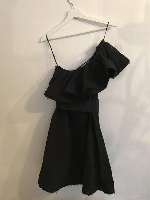 Schwarzes Kleid mit Volants - Lanvin