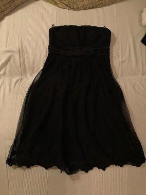 Schwarzes Kleid schulterfrei Designer XS 34