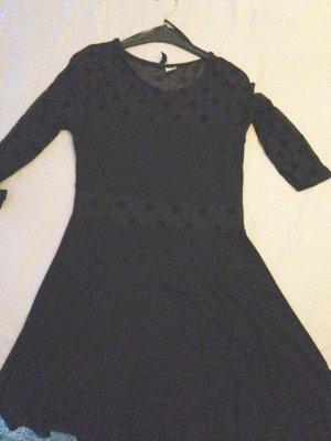 Schwarzes Kleid transparent Punkte