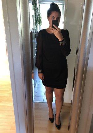 Schwarzes Kleid, transparente Ärmel, Gr. L / 42, Yessica / C&A