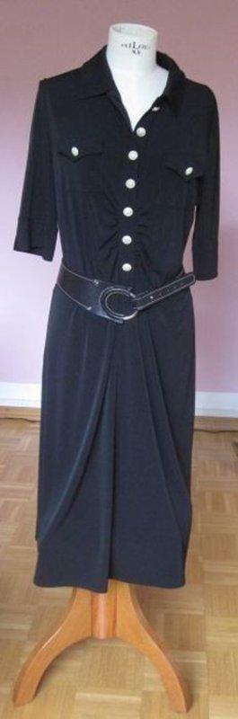 schwarzes Kleid von Basler inkl. Basler Gürtel, schwarz mit Silber (38/90 echtes Leder)