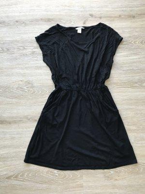 schwarzes Kleid von H&M mit Gummizug und Taschen