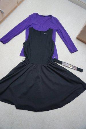 schwarzes Kleid von mango mit Gürtel und Shirt von Comma Gr. 34 XS