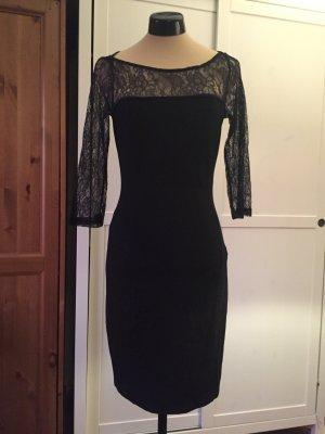 Schwarzes Kleid von Mint & Berry mit Spitzenärmeln, Grösse 38 /M