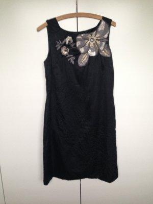 Schwarzes Kleid von Monsoon mit Pailetten und Stickerei in Gr 40