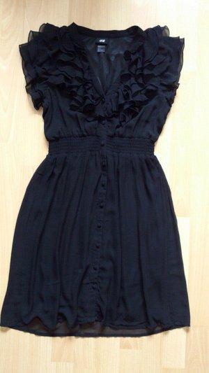 schwarzes knielanges Rüschenkleid von H&M in Größe 36