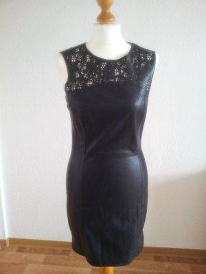 schwarzes Kunstlederkleid von Only, Größe 38