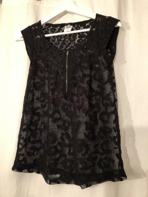 schwarzes kurzärmliges Shirt in Leooptik von Vero Moda in XS