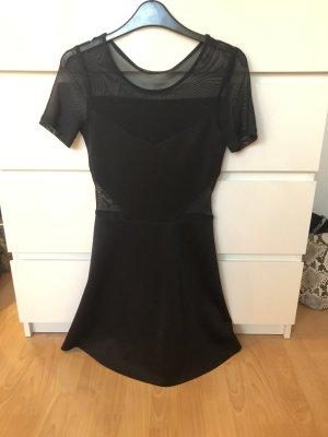 Schwarzes kurzarm Kleid mit Mesh