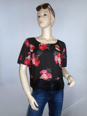 Schwarzes, kurzes Fransen-Shirt mit Blumen