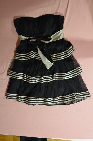 Schwarzes kurzes Kleid mit Goldeinsätzen