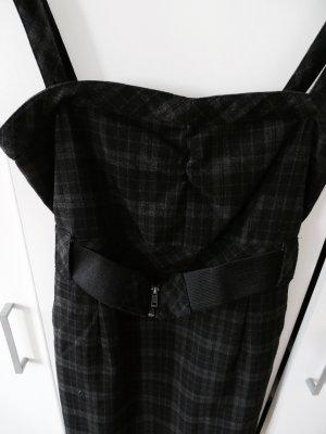 Schwarzes kurzes Kleid mit grauem Karomuster - 36
