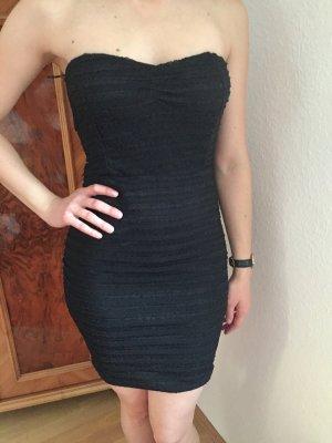 Schwarzes kurzes trägerloses Bandeau Kleid Gr. 38 S