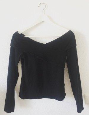 H&M Camisa con cuello V negro