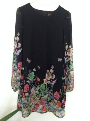 Schwarzes Langarm-Kleid mit Blumenprint von Yumi