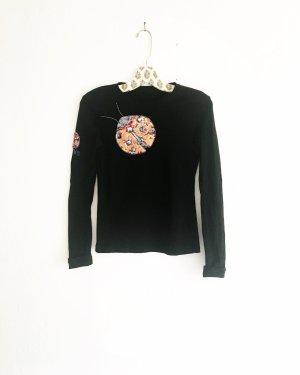 schwarzes langarm shirt / vintage / marienkäfer / boho / hippielook
