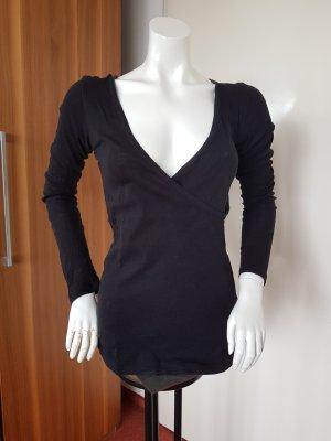 Schwarzes Langarm Shirt Wickeloptik