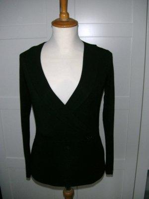 schwarzes Langarmshirt, Longsleeve mit V-Ausschnitt, Mexx, Gr. S