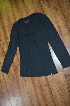 schwarzes Langarmshirt mit Raffung am Ausschnitt Gr.40/ M EDC by Esprit