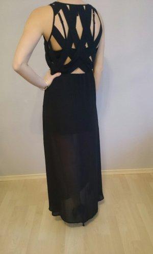 schwarzes langes Kleid mit Schlitz und schönem Rückendetail