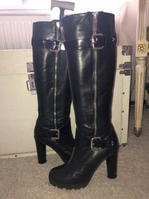 Schwarzes Leder Stiefel in Gr 37